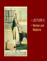 HPS319 - Lecture 5 - Women and Medicine