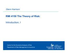 Harrison -- RMI 4150 Theory of Risk 1 -- Introduction -- I