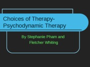 Choices of Therapy for Depression