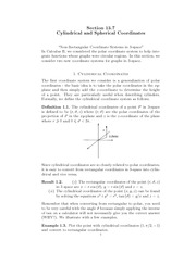 12.7 Cylindrical and Spherical Coordinates