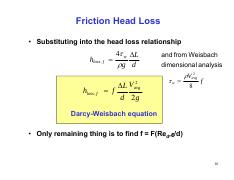 lecture13-1per16 pdf - Friction Head Loss Substituting into
