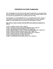 Individual Case Study Assignments
