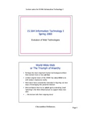 Evolution of Web Technologies notes
