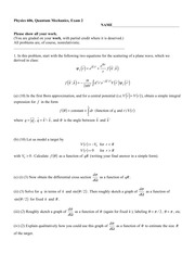 Sample Exam 2-1 Fall 2014 on Quantum Mechanics