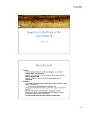 Topic 10 - Sorption
