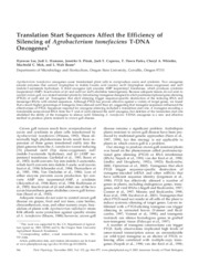 Translation Start Sequences Affect the Efficiency of Silencing of Agrobacterium tumefaciens T-DNA On