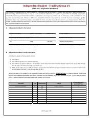 2016-2017 V1 Independent Verification Worksheet