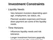 Investment Constraints