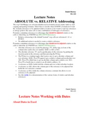 Absolute Vs. Relative Addressing Notes