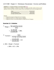 ACCT 5283 - Chap 11 Exercises - Problems and Solutions