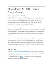 One Month AP US History Study Guide