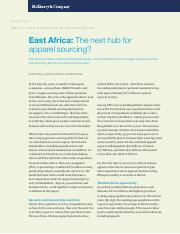 East Africa The next hub for apparel sourcing(Aug 2015)