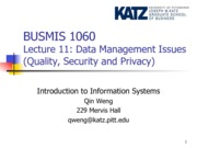 Lecture 11-Data Management Issues (Quality, Security and Privacy)(2)