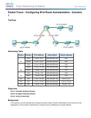 6.4.1.5 Packet Tracer - Configuring IPv4 Route Summarization - Scenario 1 Instructions.pdf