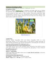 Production Technology for Maize