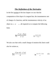 The Definition of the Derivative