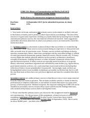 COMS 220 Media History Documentation Assignment Instruction Sheet (Fall 2015)