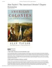 Alan Taylor's _The American Colonies_ Chapter Summaries.pdf