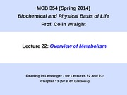 MCB 354 Metabolism Lecture