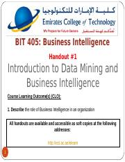 HO#1 -- Introduction to Data Mining and Business Intelligence
