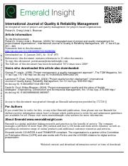 International Journal of Quality & Reliability Management Volume 17 issue 45 2000 Orwig, Robert A.;