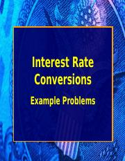 Rate of Return Conversions(1)