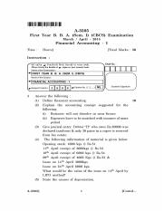 A-3505 - First Year B. B. A. (Sem. I) (CBCS) Examination March  April - 2015 Financial Accounting -