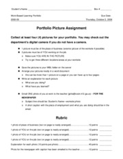 14 Workplace -- Portfolio Picture Assignment (with rubric)