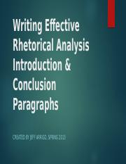 Writing an Effective Rhetorical Analysis Introduction Paragraphs (1)