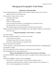 Anthropology 2 Handout field notes