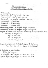 Polynomial Functions Characteristic & Operations