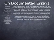 On Documented Essays