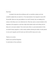 Nuts and Raisins Letter