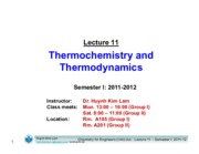 Lecture 11_Thermochemistry and Thermodynamics_Mon