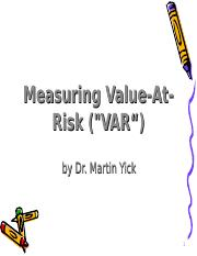 Ch6 Value at Risk.ppt