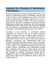 Applying the Principles of Mathematics in Economics.docx