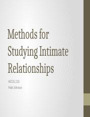 Methods for Studying Intimate Relationships