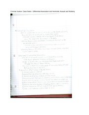 Criminal Justice- Class Notes - Differential Association and Homicide, Assault and Robbery