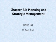 Chapter B4: Planning and Strategic Management