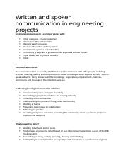 Written and spoken communication in engineering projects