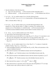 Mathematical Statistics Midterm Exam#4-2010