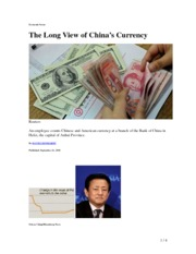 Long View of China Currency 21.9.2010