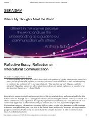 Reflective essay on communication