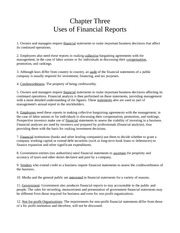 Chapter Three - Uses of Financial Reports
