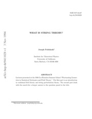 What Is String Theory - J. Polchinski
