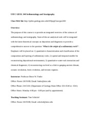 GEOL 340 Sedimentology and Stratigraphy Syllabus