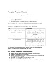 Diversity Organizations Worksheet