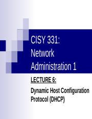 CISY 331 Lecture6 DHCP