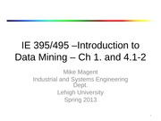 Lecture 1 - Intro to Data Mining