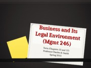Mgmt 246 Powerpoint - Torts (Smith)